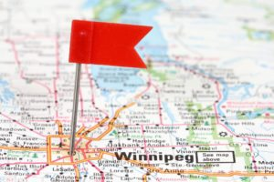 Map of Winnipeg with a marker flag pinned on EZ Workforce location